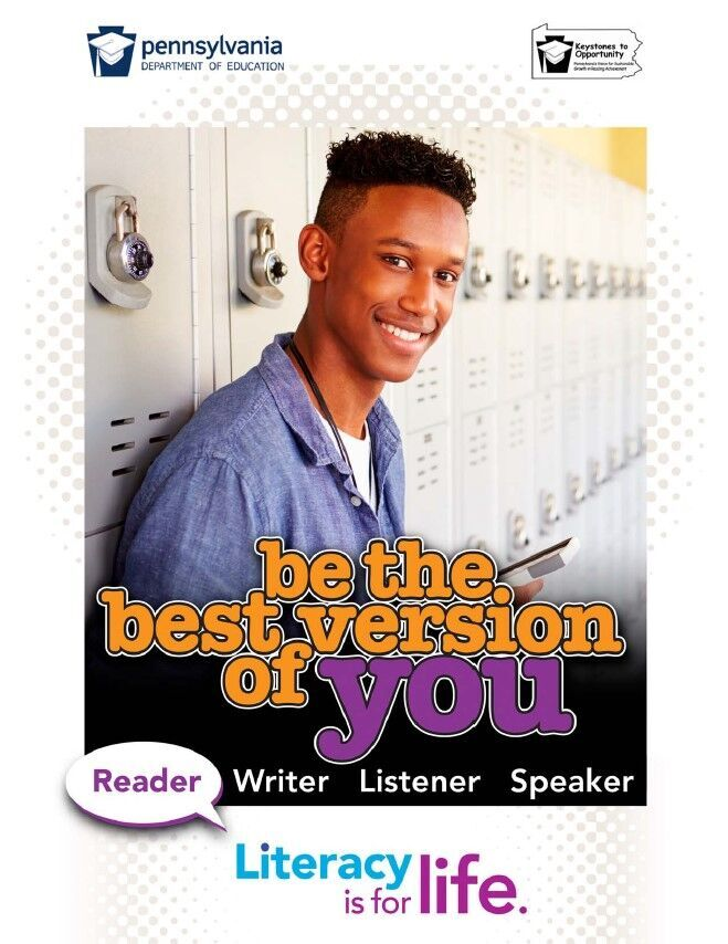 poster of boy standing by lockers - be the best version of you