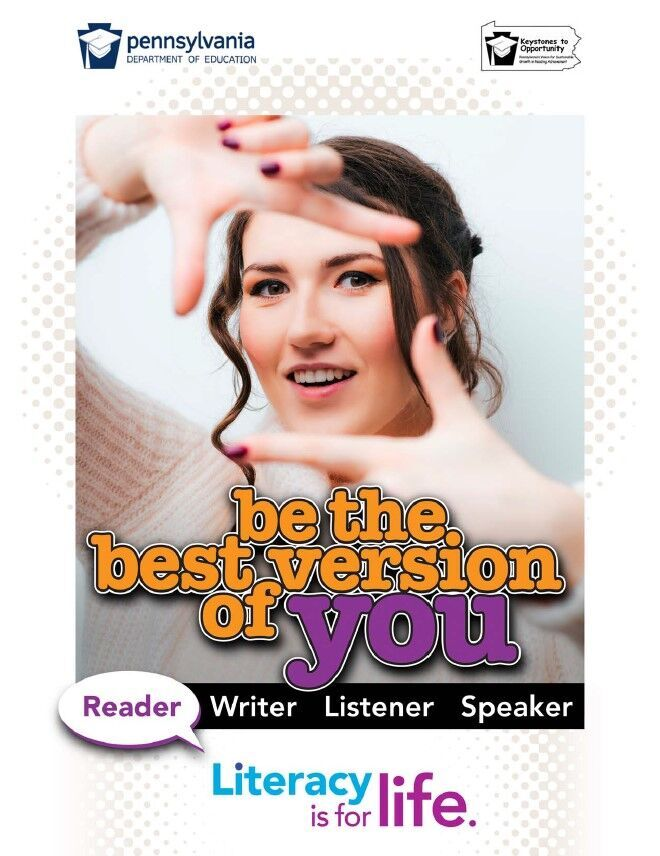 poster of girl making frame with fingers - be the best version of you