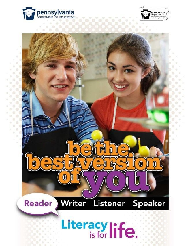 poster  of girl and boy in science lab - be the best version of you