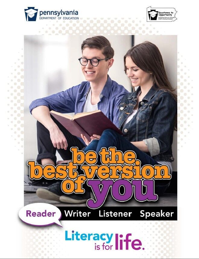 poster of boy and girl reading a book - be the best version of you