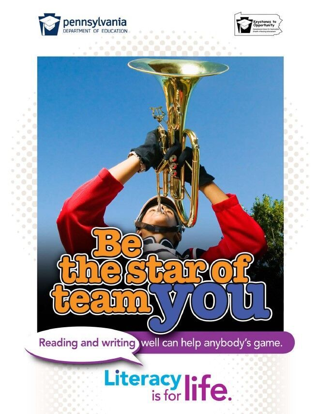 poster of boy playing horn instrument - be the star of team you