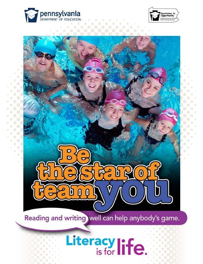poster of a team of swimmers - be the star of team you