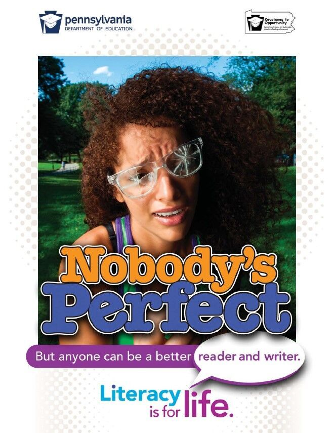 poster of girl with broken glasses - nobody's perfect