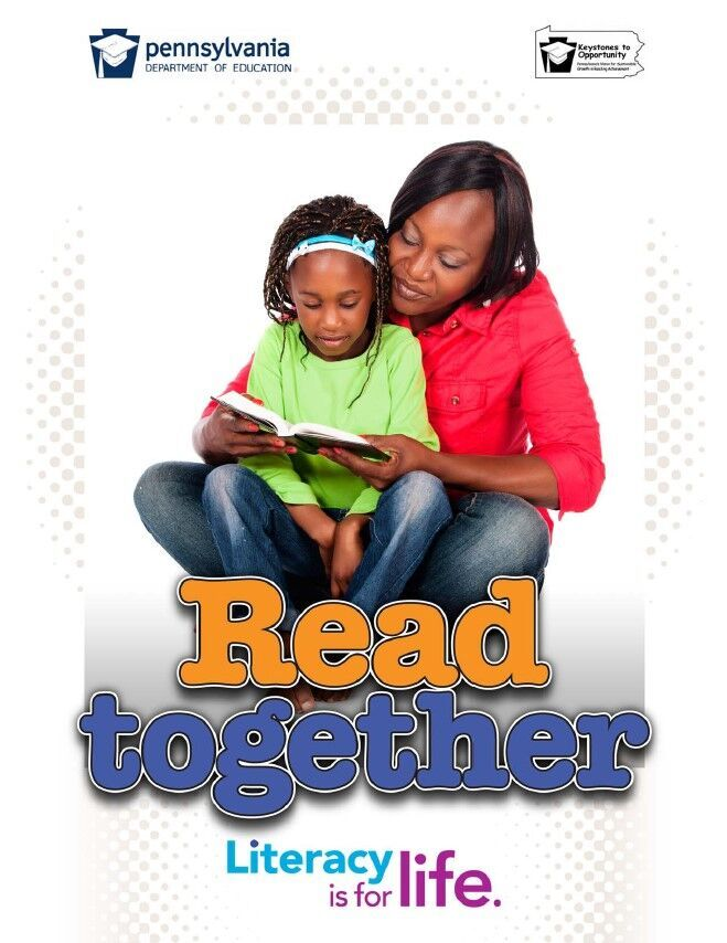poster of woman reading book to young girl - read together