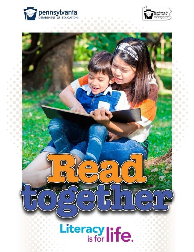 poster of women reading to younger boy - read together