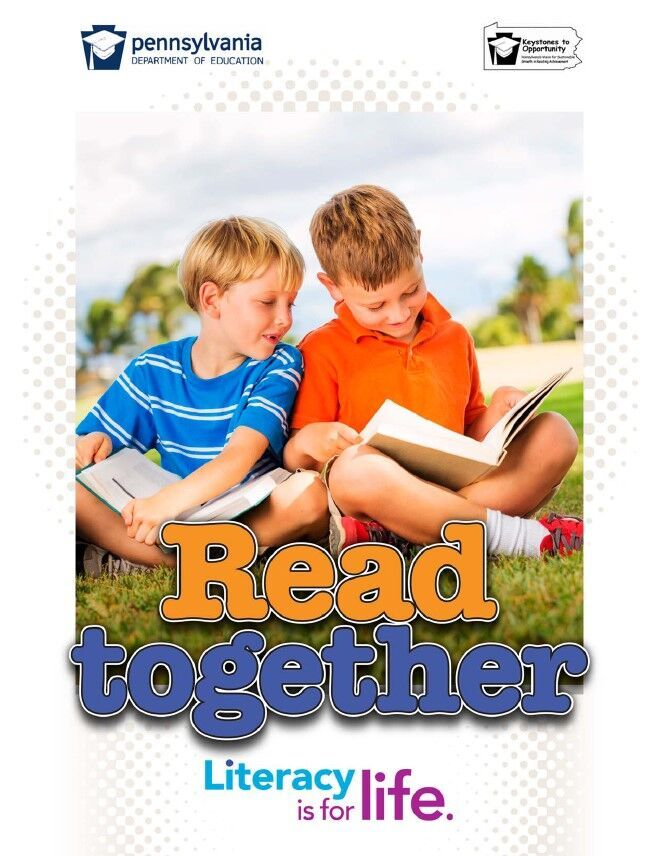 poster of two young boys reading books - read together