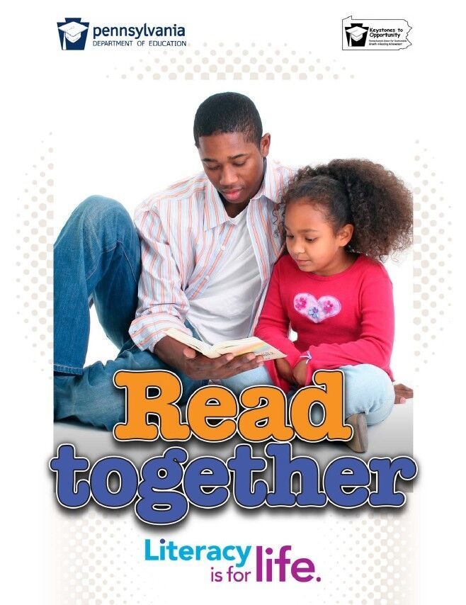 poster of male reading to young girl - read together