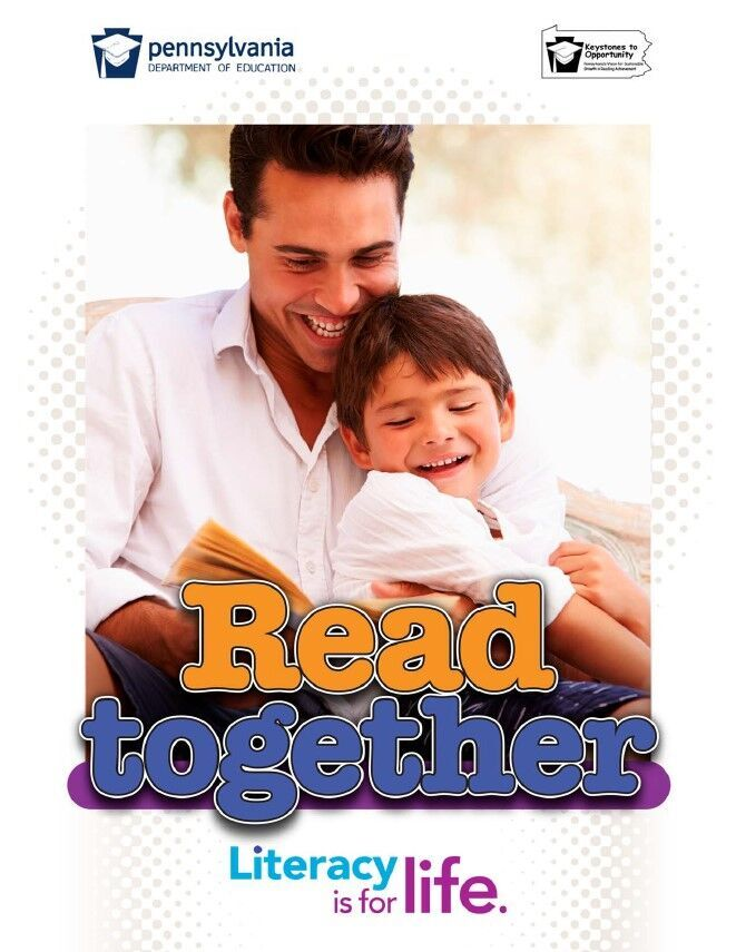 poster of man reading a book to young boy - read together