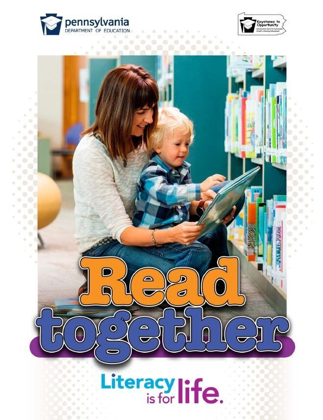 poster of women reading book to young boy - read together