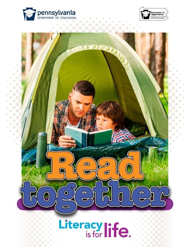 poster of man reading book to young child in a tent - read together