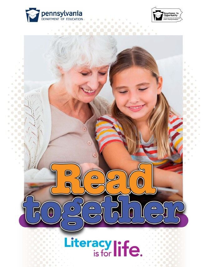 poster of older women reading book to young child - read together