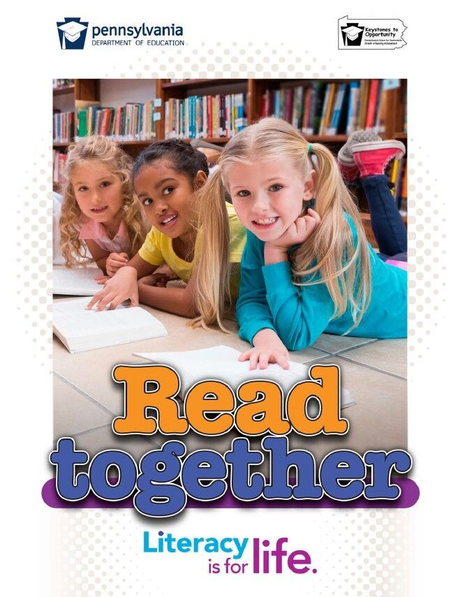 poster of three young girls reading books - read together
