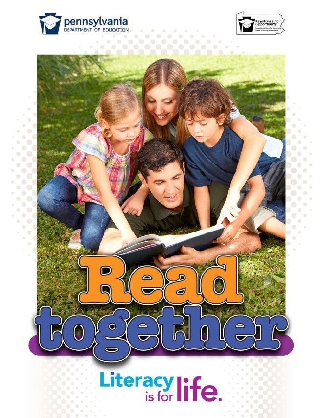 poster of a family reading together - read together