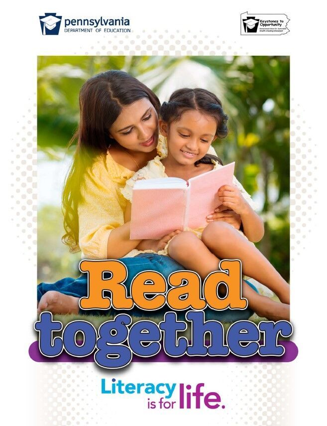 poster of a women reading book to young girl - read together