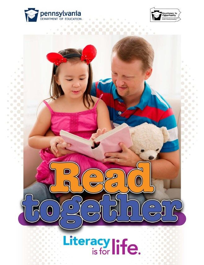 poster of male reading book to young girl - read together