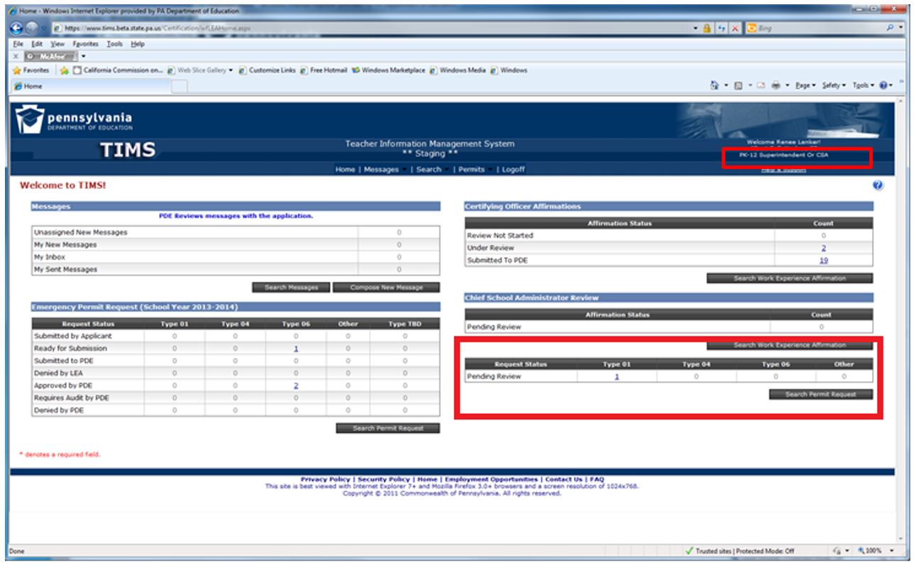 Screenshot showing the Superintendent has applications pending review