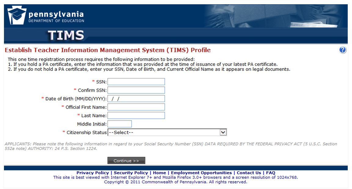 Screenshot of the screen where first time users must establish a TIMS profile