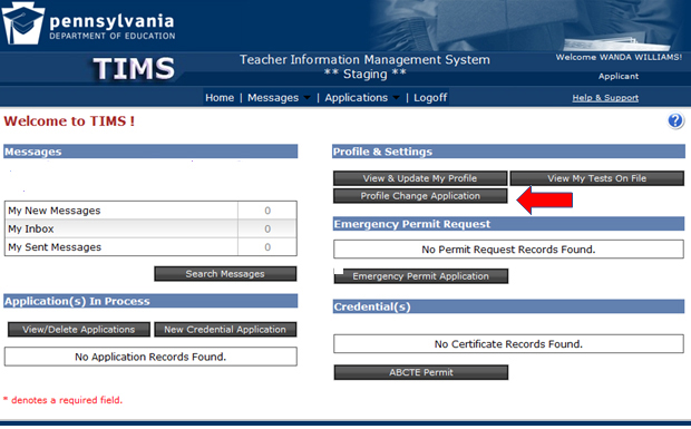Screenshot of TIMS dashboard showing where to submit a profile change