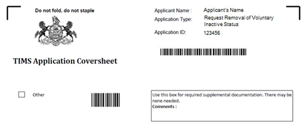 image of TIMS Application Coversheet