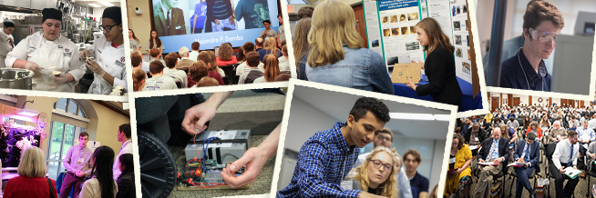 Collage of picture of student in STEM