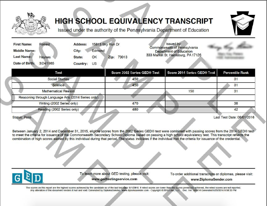 Sample documents transcript ged grandfathered spiritdancerdesigns Image collections
