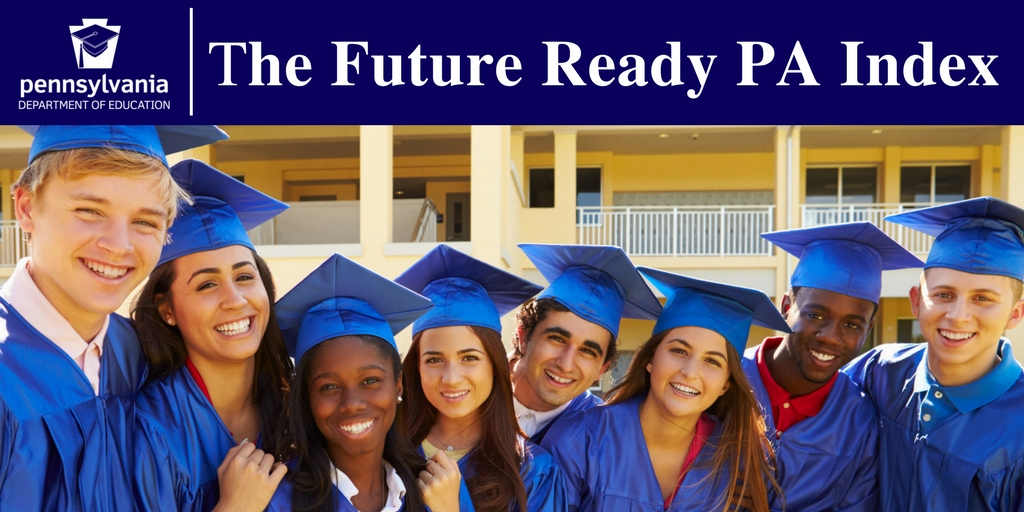 The Future Ready PA Index - graduating students in blue caps and gowns