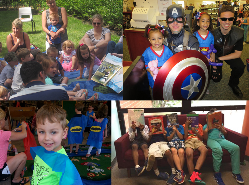Multiple images of kids, superheros and children being read book and reading books.